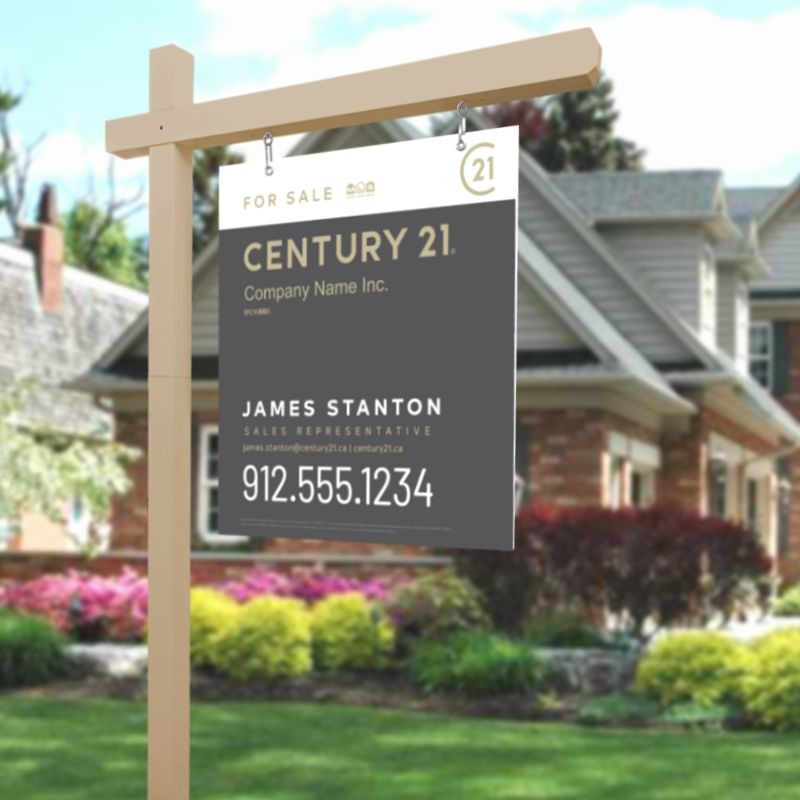 Gold Real Estate Sign Post